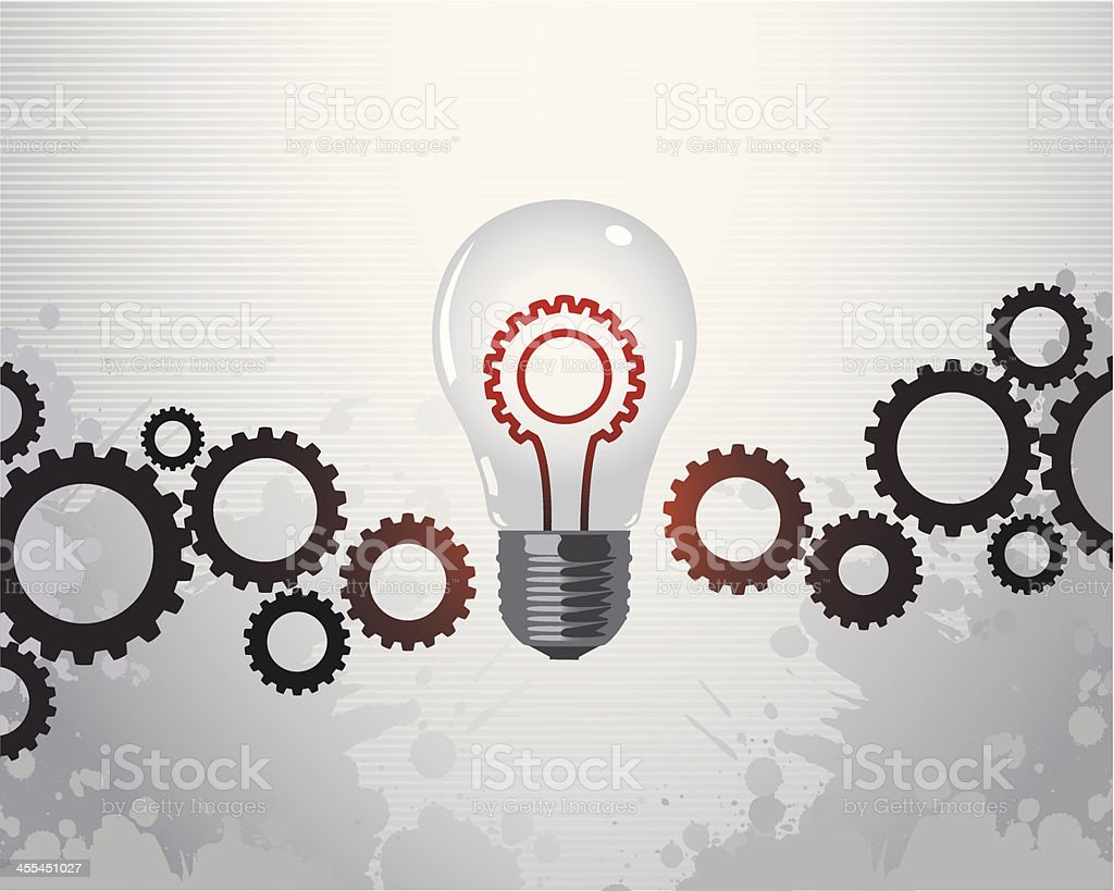 Gears and a light bulb representing a solution concept royalty-free stock vector art