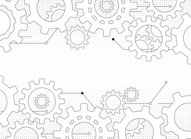gears and cogs gears and cogs design frame manufacturing stock illustrations