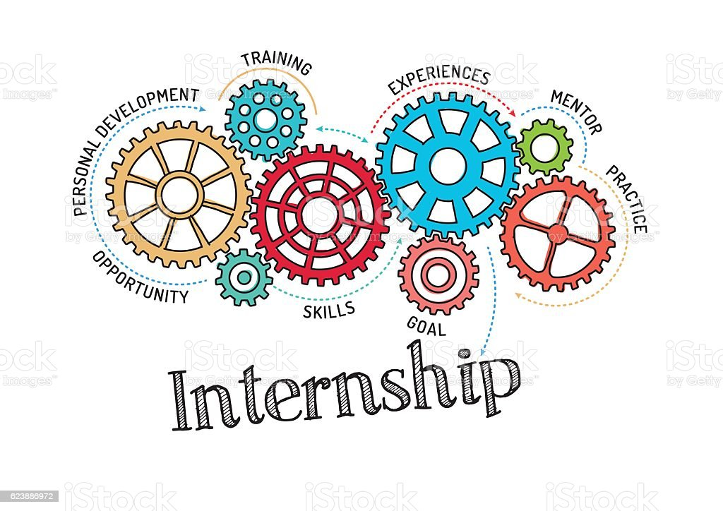 Gears and Internship Mechanism vector art illustration