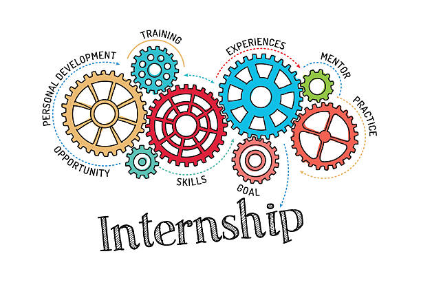 Gears and Internship Mechanism Gears and Internship Mechanism apprentice stock illustrations