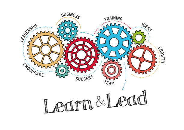 gears and learn and lead mechanism - zawód stock illustrations