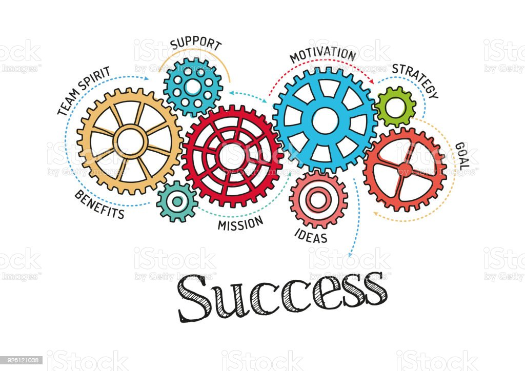 gears and success mechanism stock vector art more images of