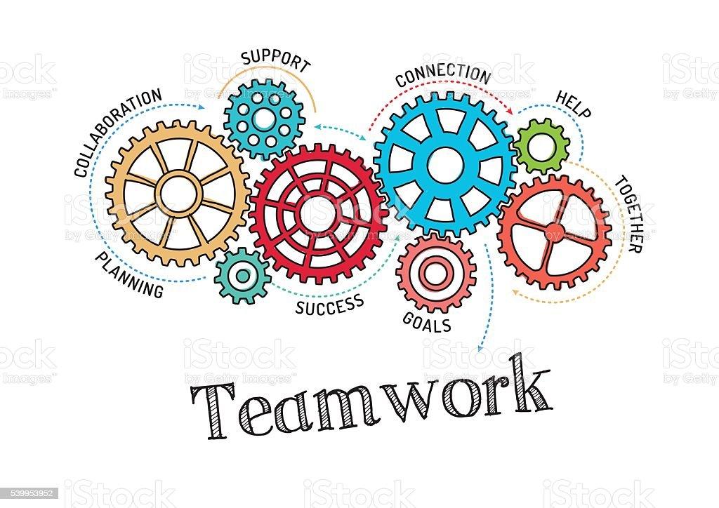 Gears and Teamwork Mechanism vector art illustration