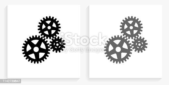 Gears Black and White Square Icon. This 100% royalty free vector illustration is featuring the square button with a drop shadow and the main icon is depicted in black and in grey for a roll-over effect.