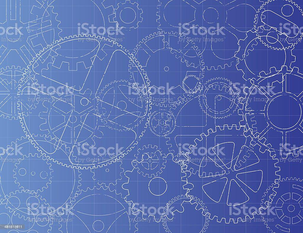 Gears Blueprint vector art illustration