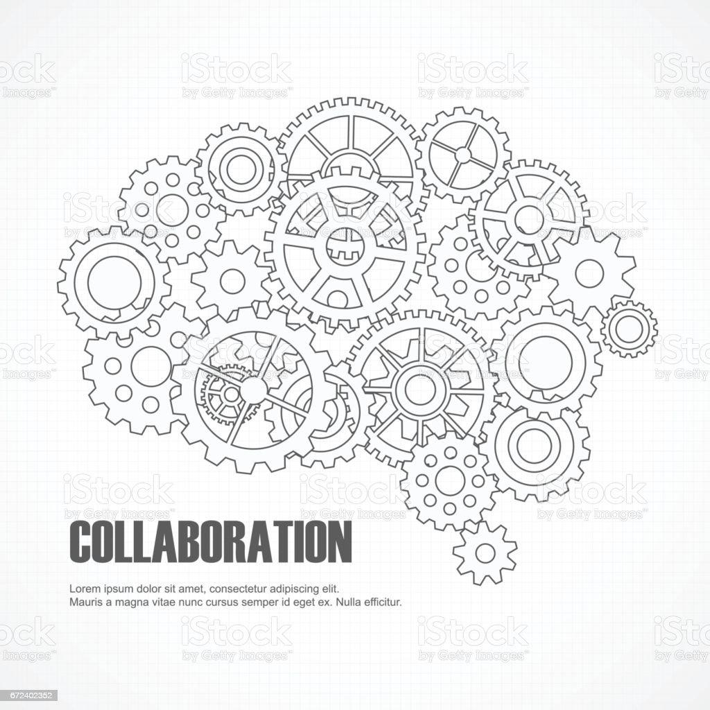 Gears brain for cooperation or teamwork vector art illustration
