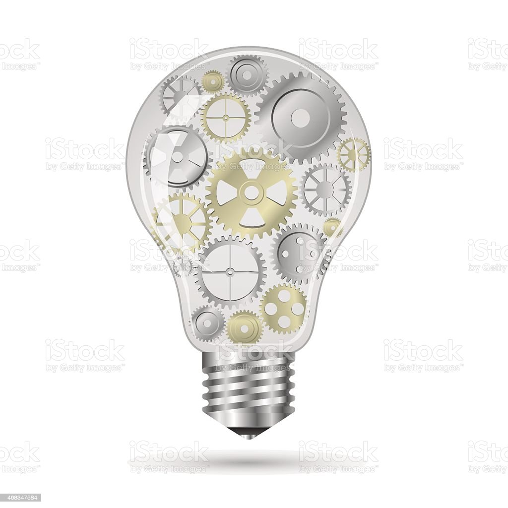 gears bulb idea concept in vector format royalty-free gears bulb idea concept in vector format stock vector art & more images of 2015