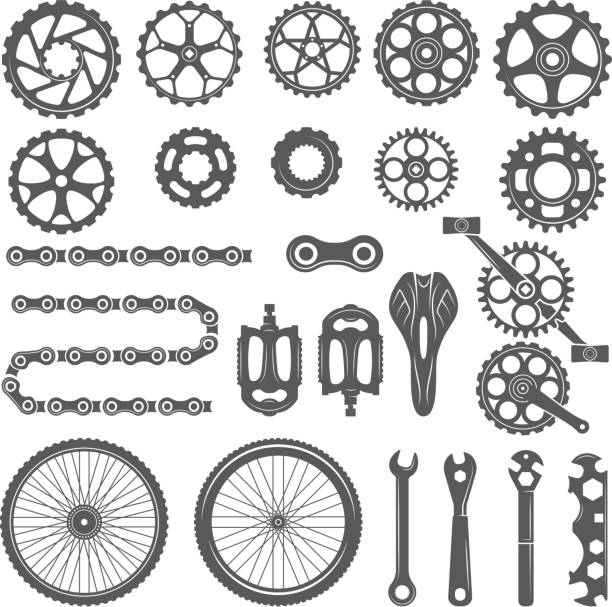 Gears, chains, wheels and other different parts of bicycle Gears, chains, wheels and other different parts of bicycle. Bike pedal and elements for cycle biking, vector illustration vehicle part stock illustrations