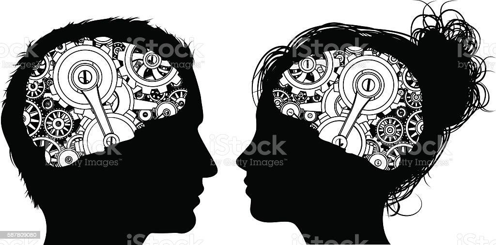Gears Cogs Brain Concept vector art illustration