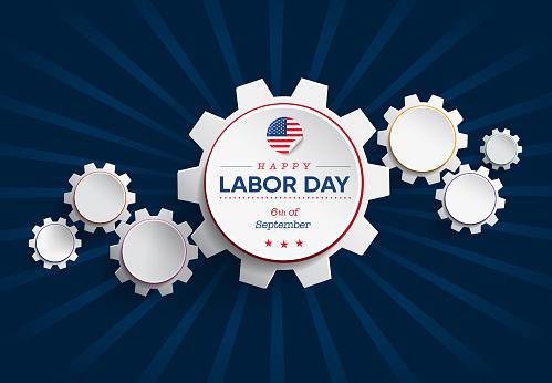 Gears Concept Labor Day Celebration Card