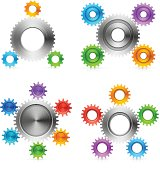 Vector illustration of different gears sets.