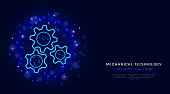 Gears concept. Vector wireframe 3d gear modern illustration on abstract blue polygonal background. Mechanical engineering technology machine engine. Business solution design. Banner, poster template