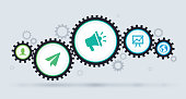 Gears working together infographic symbol concept.