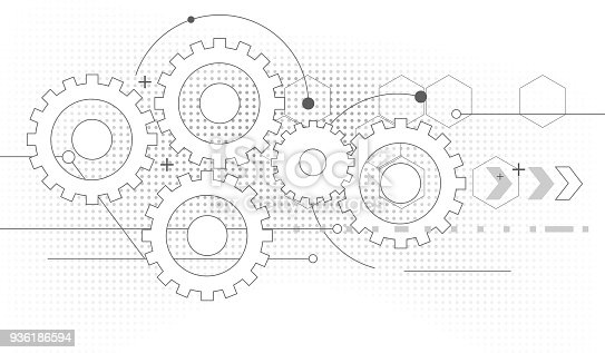 technical drawing cogwheel process abstract background