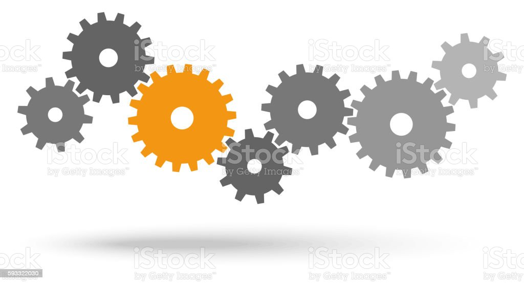 gears for cooperation symbolism vector art illustration