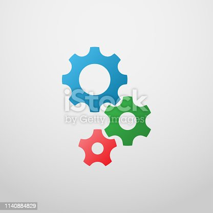 gears icon vector in colorful style.Settings gears icon vector isolated on white background.gears icon vector illustration.