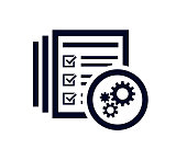 istock Gears icon with document list with tick check marks 1288288074