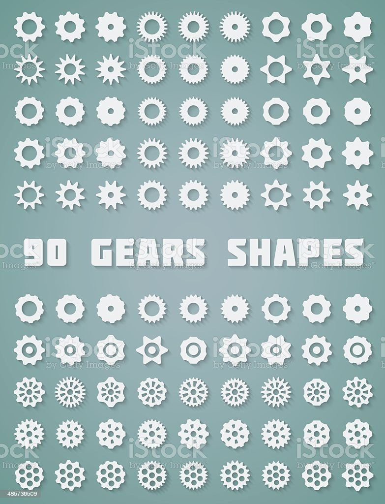 Gears Icons Set vector art illustration
