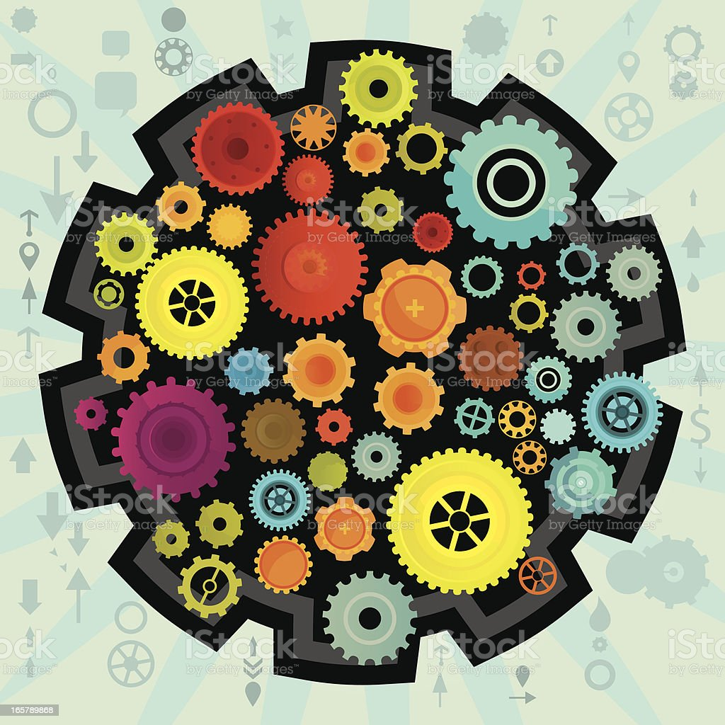 Gears In Action royalty-free stock vector art