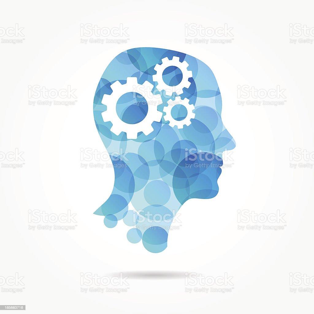 gears in bubble head poster vector art illustration