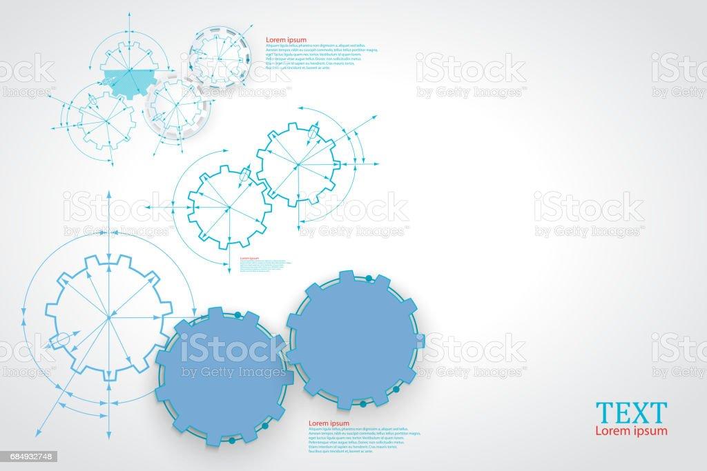 Zahnräder im Eingriff. Technische Zeichnung abstrakt Industrieerfahrung mit einem Zahnräder. Lizenzfreies zahnräder im eingriff technische zeichnung abstrakt industrieerfahrung mit einem zahnräder stock vektor art und mehr bilder von abstrakt