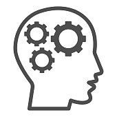 istock Gears in head line icon, idea and innovation concept, human mind and three cogs sign on white background, Human head with set of gears icon in outline style for mobile, web. Vector graphics. 1256603063