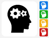 Gears in the Mind Icon. This 100% royalty free vector illustration features the main icon pictured in black inside a white square. The alternative color options in blue, green, yellow and red are on the right of the icon and are arranged in a vertical column.