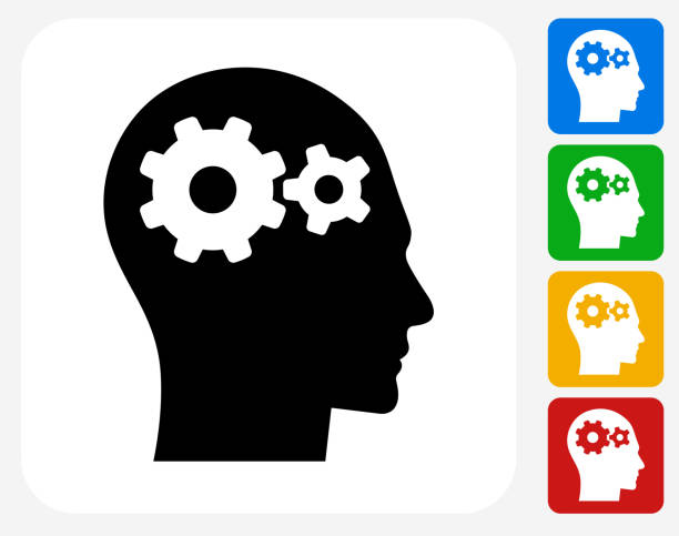 Gears in the Mind Icon Flat Graphic Design Gears in the Mind Icon. This 100% royalty free vector illustration features the main icon pictured in black inside a white square. The alternative color options in blue, green, yellow and red are on the right of the icon and are arranged in a vertical column. head stock illustrations