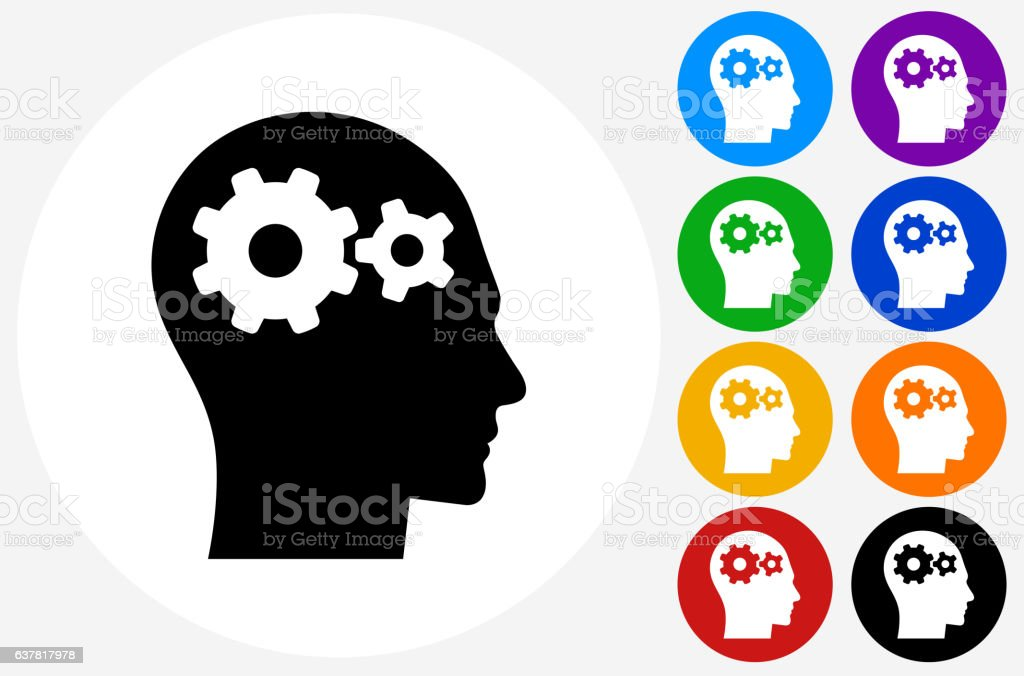 Gears in the Mind Icon on Flat Color Circle Buttons vector art illustration