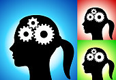 Gears in the Mind. This royalty free vector illustration is featuring a human profile with the main icon on it. There are three variations included in one image. The main one is on a blue gradient background with the two alternate color versions on a red and on a green background. The human profile is in black and the main icon is in white. The illustration is simple yet conceptual.