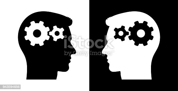 Gears in the Mind. This royalty free vector illustration features the main icon on both white and black backgrounds. The image is black and white and had the profile rendered with the main icon inside the human's head. The illustration is simple yet very conceptual.