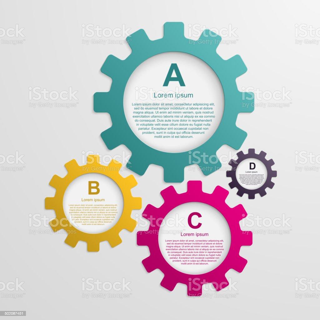 Gears infographic design template. vector art illustration