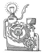Hand-drawn vector drawing of a Machine with Gears and a Light Bulb, Idea Concept Image. Black-and-White sketch on a transparent background (.eps-file). Included files are EPS (v10) and Hi-Res JPG.