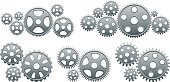 Gears metallic cog vector icon set. There are multiple machine gears and gear cog combinations in this original vector composition. The gears have a realistic look and feature a bevel and emboss effect. Middle part of the image displays larger gear combinations. the bottom features gears placed vertically.