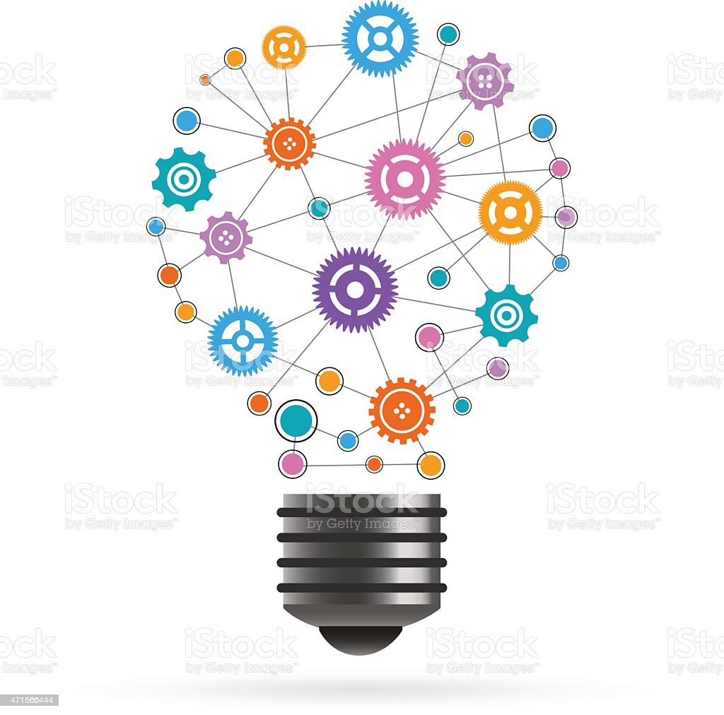 Gears network light bulb illustrations made of icons vector art illustration