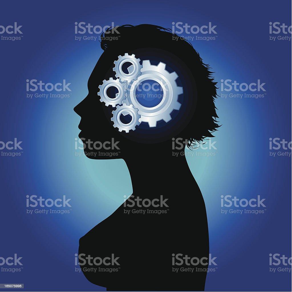 Gears of mind vector art illustration