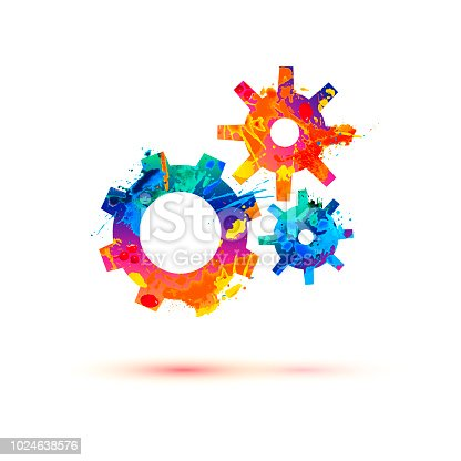 Gears of watercolor splash paint. Vector colorful icon
