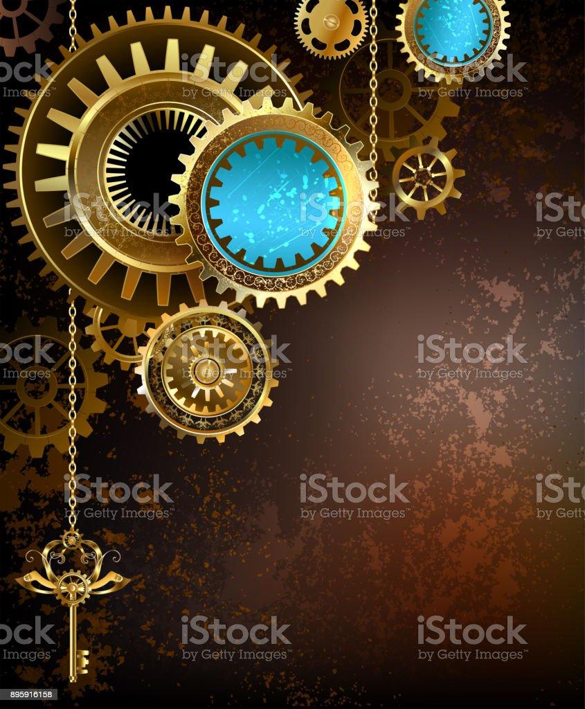 gears on rusty background vector art illustration