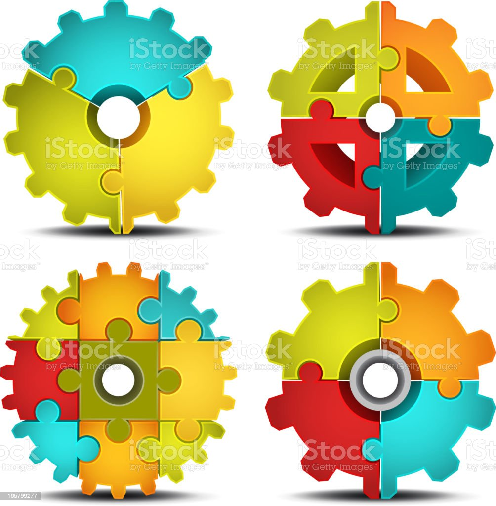 3D Gears puzzle royalty-free stock vector art