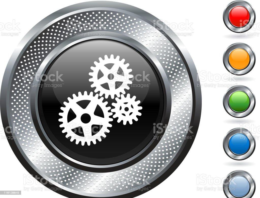 gears royalty free vector art on metallic button royalty-free gears royalty free vector art on metallic button stock vector art & more images of blank