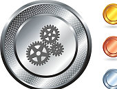 Gears icon on button with metallic border