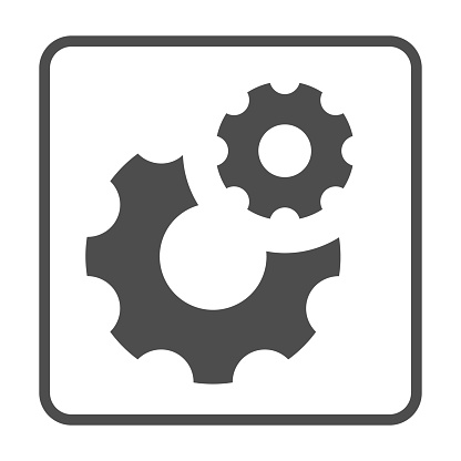 Gears solid icon, Robotization concept, two cog wheel sign on white background, Cogwheel and development icon in glyph style for mobile concept and web design. Vector graphics.