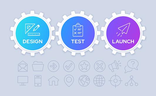 Gears Three Step Process Infographic Design
