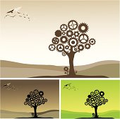 Illustration of a tree made of gears, with several birds far away.