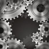 Vector illustration of interlocking gears.