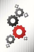 Vector background red and grey gears
