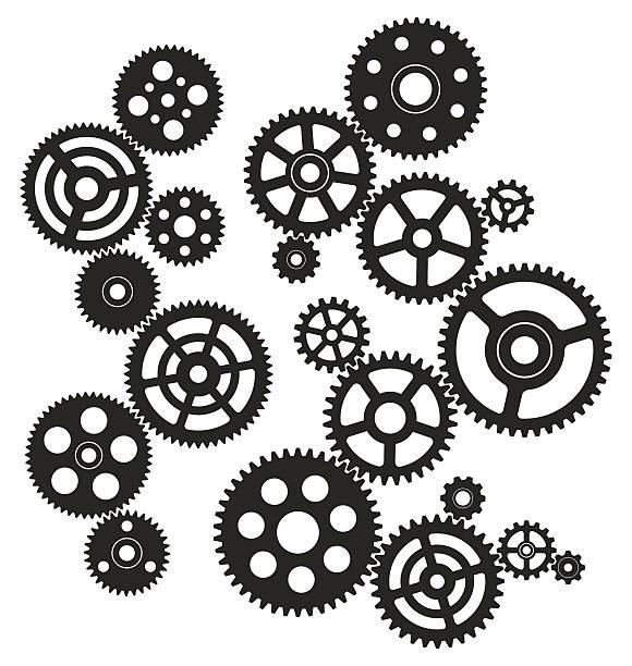 getriebe - maschinenteil ausrüstung und geräte stock-grafiken, -clipart, -cartoons und -symbole