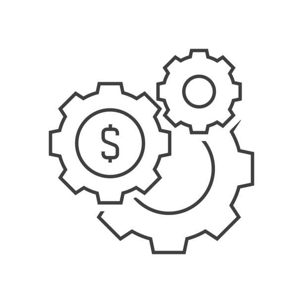 帶有貨幣符號的齒輪向量藝術插圖