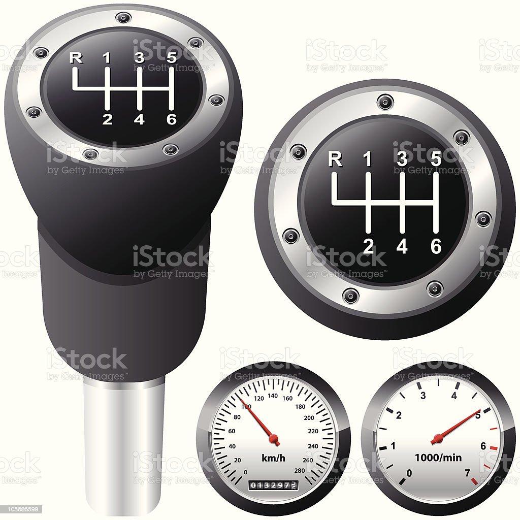 gearshift and car speedometer vector art illustration