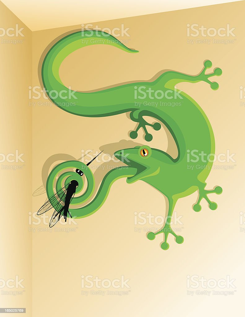 Gecko caught a mosquito royalty-free stock vector art